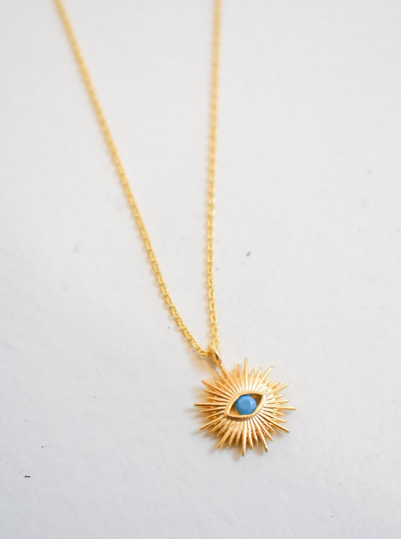 Turquoise Evileye Sunburst Necklace