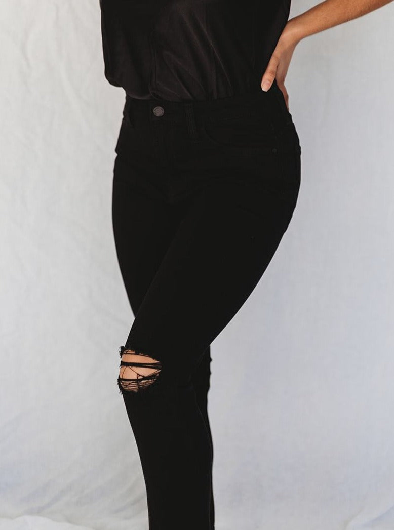 High-Rise Distressed Black Jeans