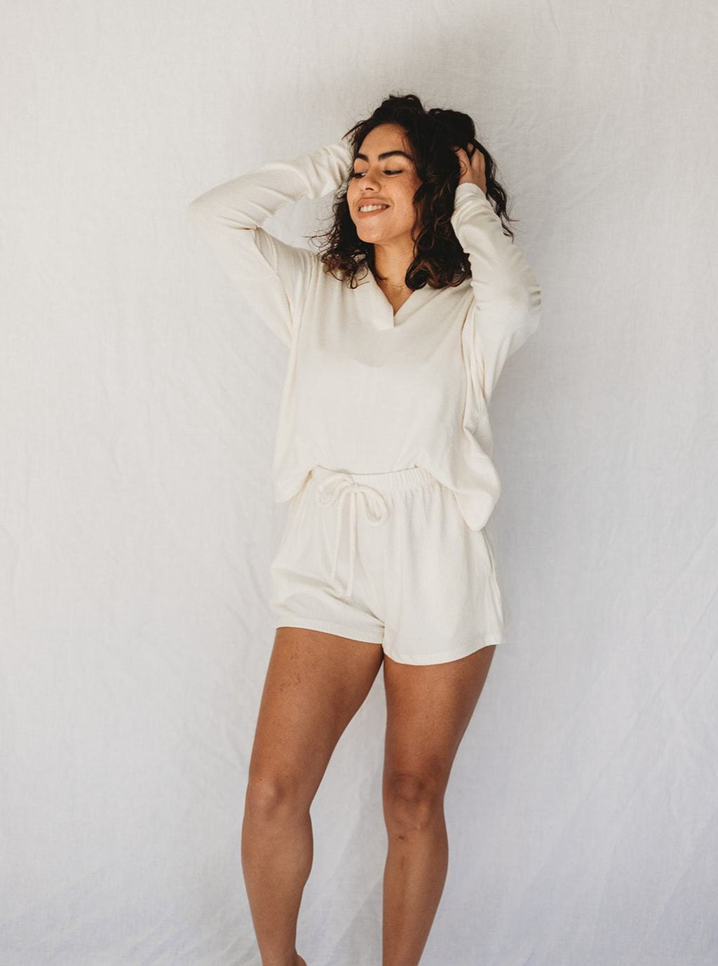 Ivory Knit Lounge Shorts