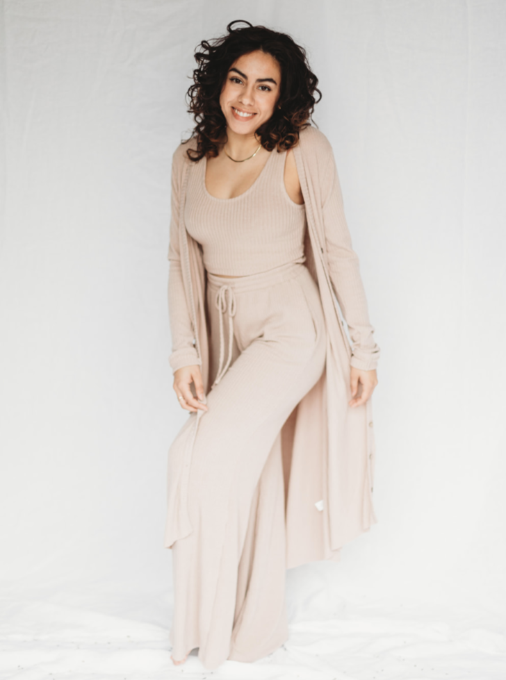 Mocha Ribbed Long Sleeve Cardigan Duster