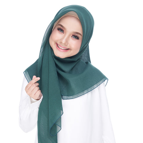 Diva Scarf - Bawal Plain - Dark Green