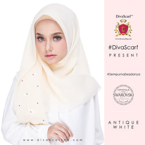 Diva Scarf - Plain Swarovski 40 biji - Antique White