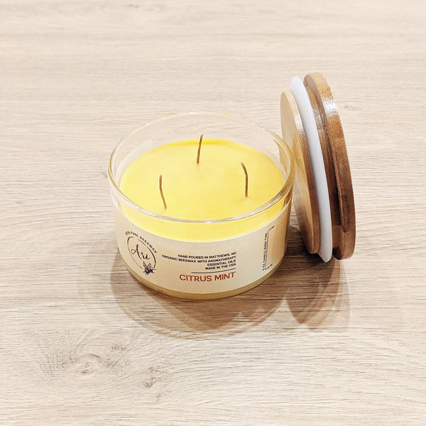 Natural Beeswax Jar Candle - Citrus Mint