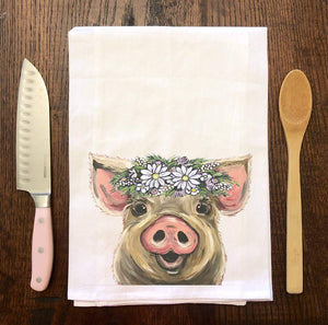 Flower Crown Pig Flour Sack Tea Towel