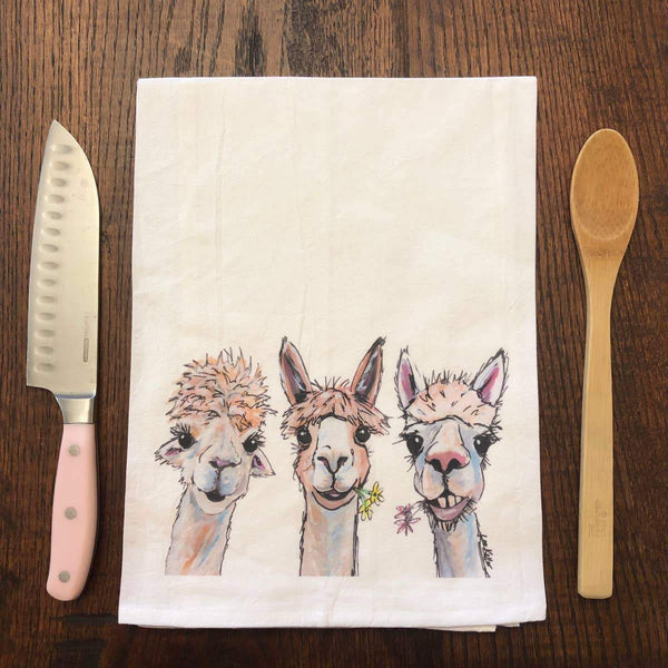 Alpacas Flour Sack Tea Towel