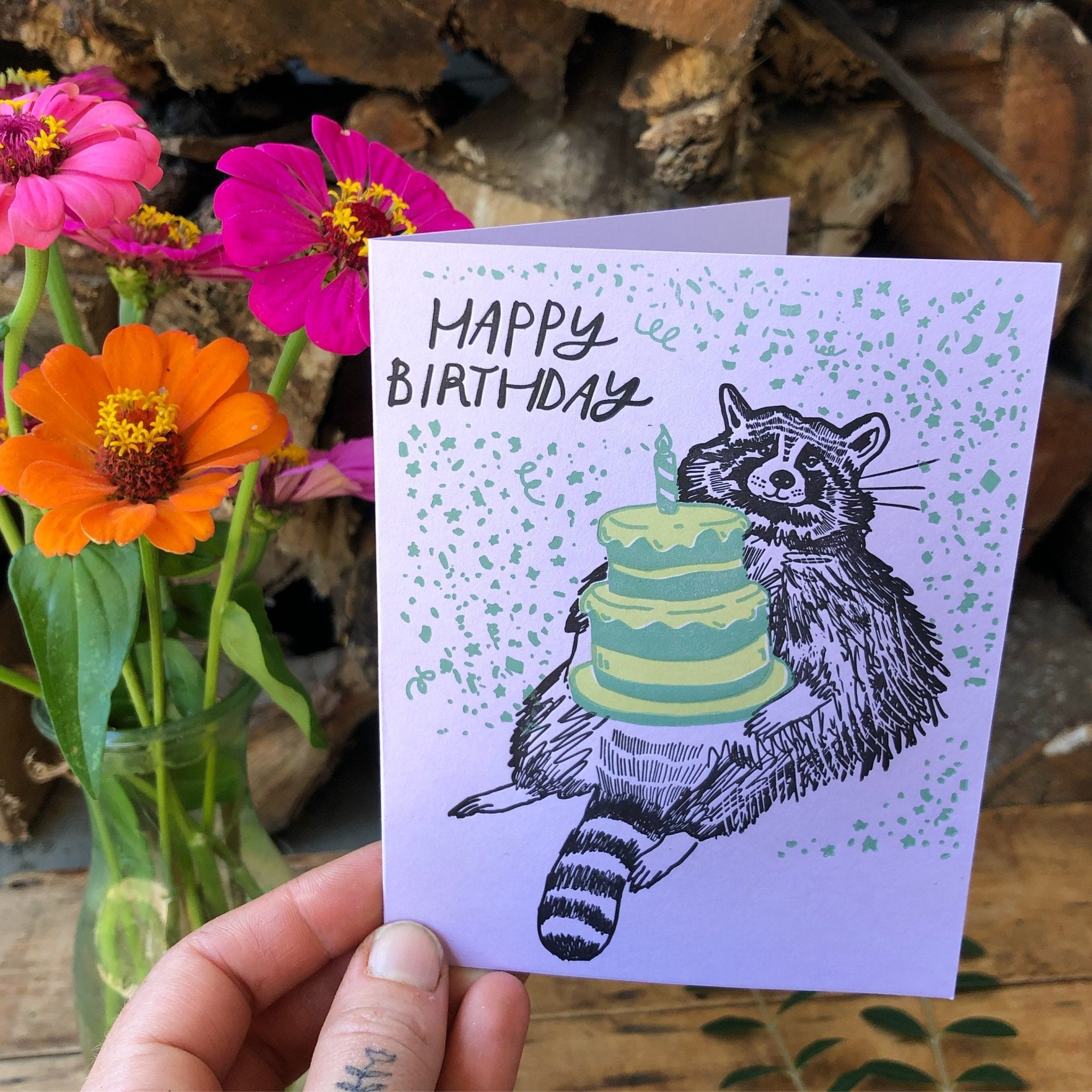 Birthday Raccoon Card - Ratbee Press -Freehand Market