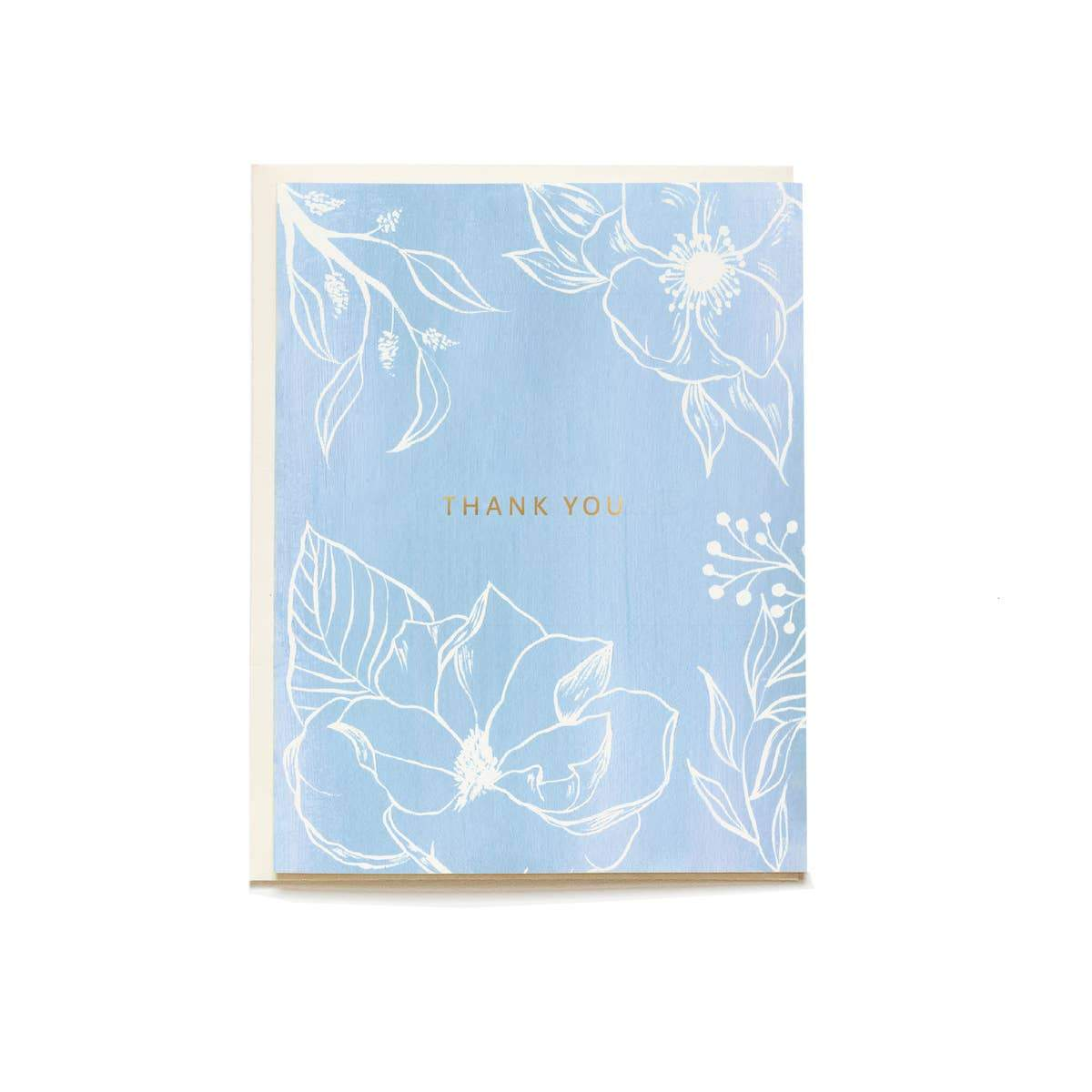Blue Floral Thank You Greeting Card