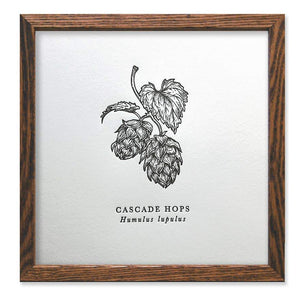 Cascade Hops Letterpress Art Print - The Wild Wander -Freehand Market