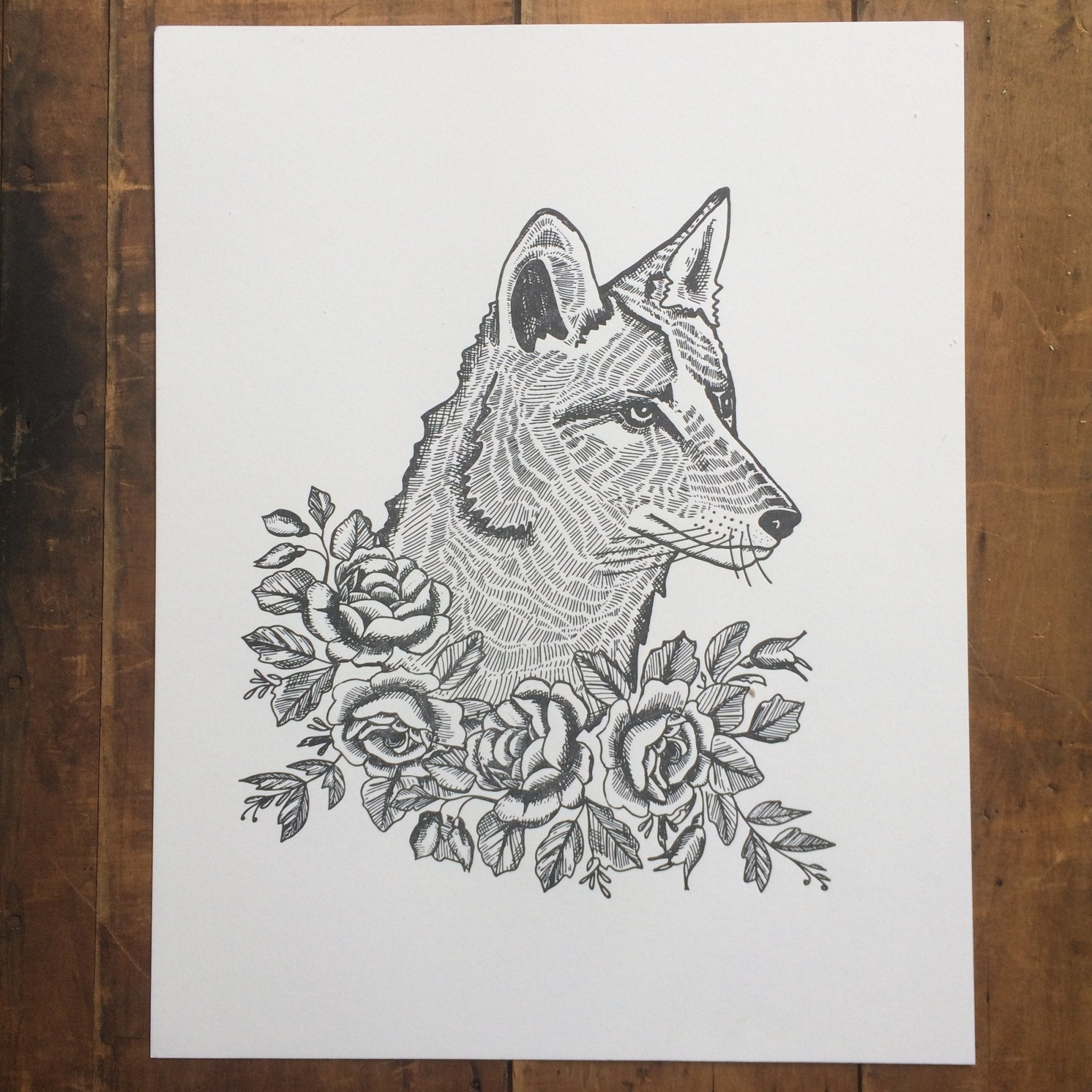 Coyote with Roses Letterpress Print 11x14 - Ratbee Press -Freehand Market