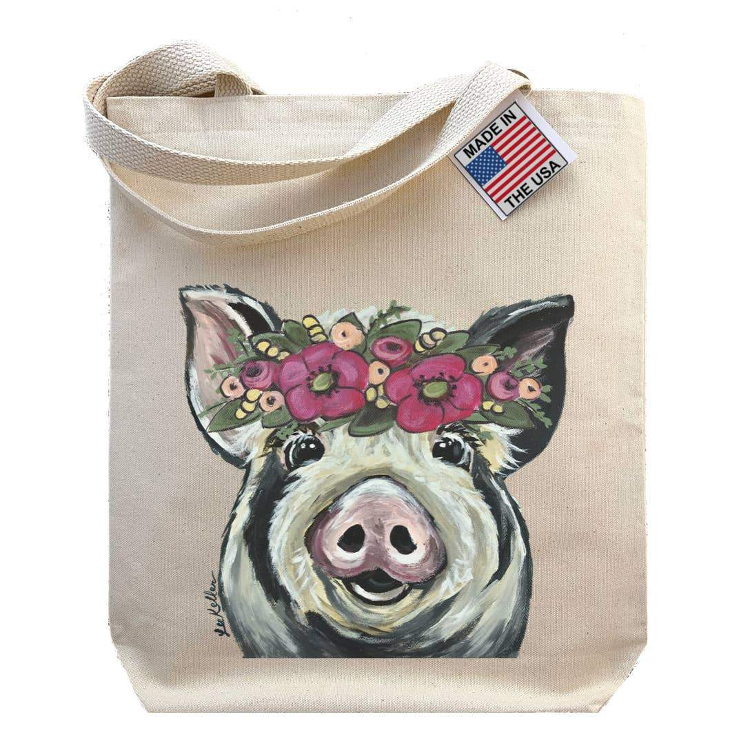 Flower Crown Pig Tote Bag