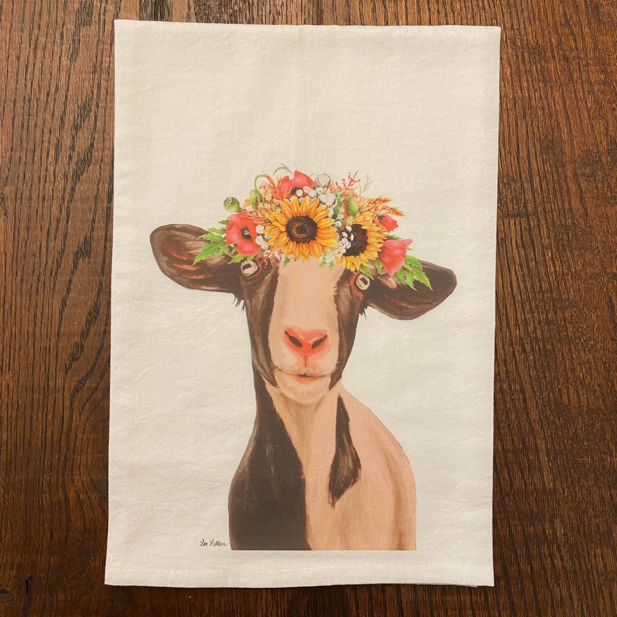 Goat with Sunflowers Flour Sack Tea Towel - Hippie Hound Studios -Freehand Market