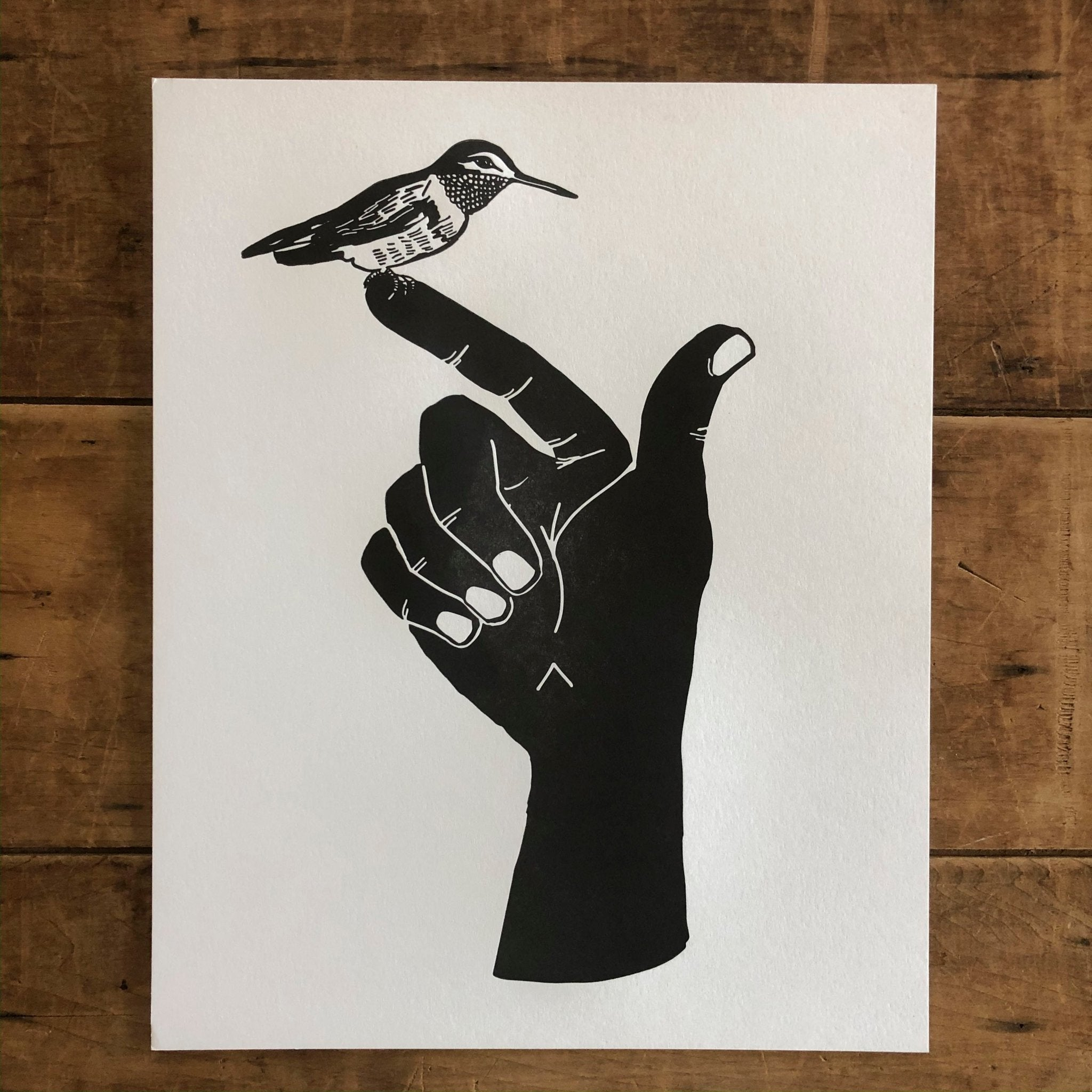 Hummingbird Hand Letterpress Print 8x10 - Ratbee Press -Freehand Market