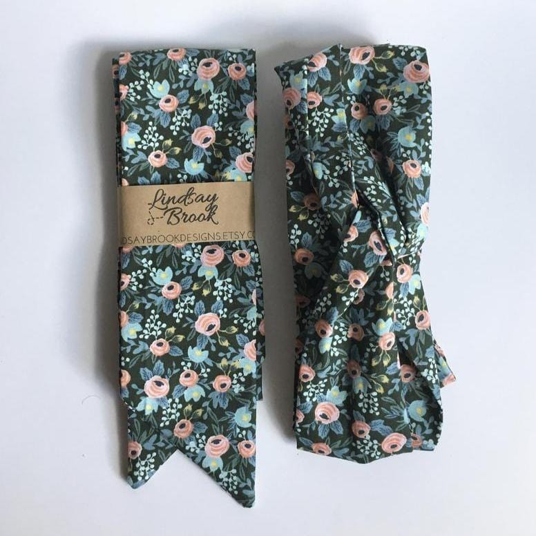 Hunter Green Floral Hair Scarf