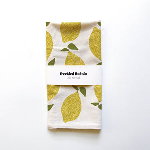 Lemons Tea Towel - Freckled Fuchsia -Freehand Market
