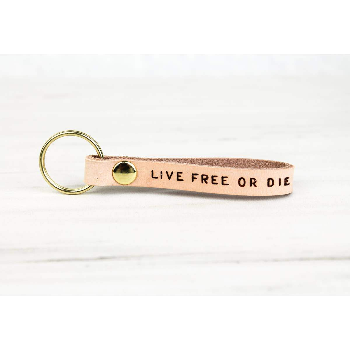 Live Free or Die Leather Keychain