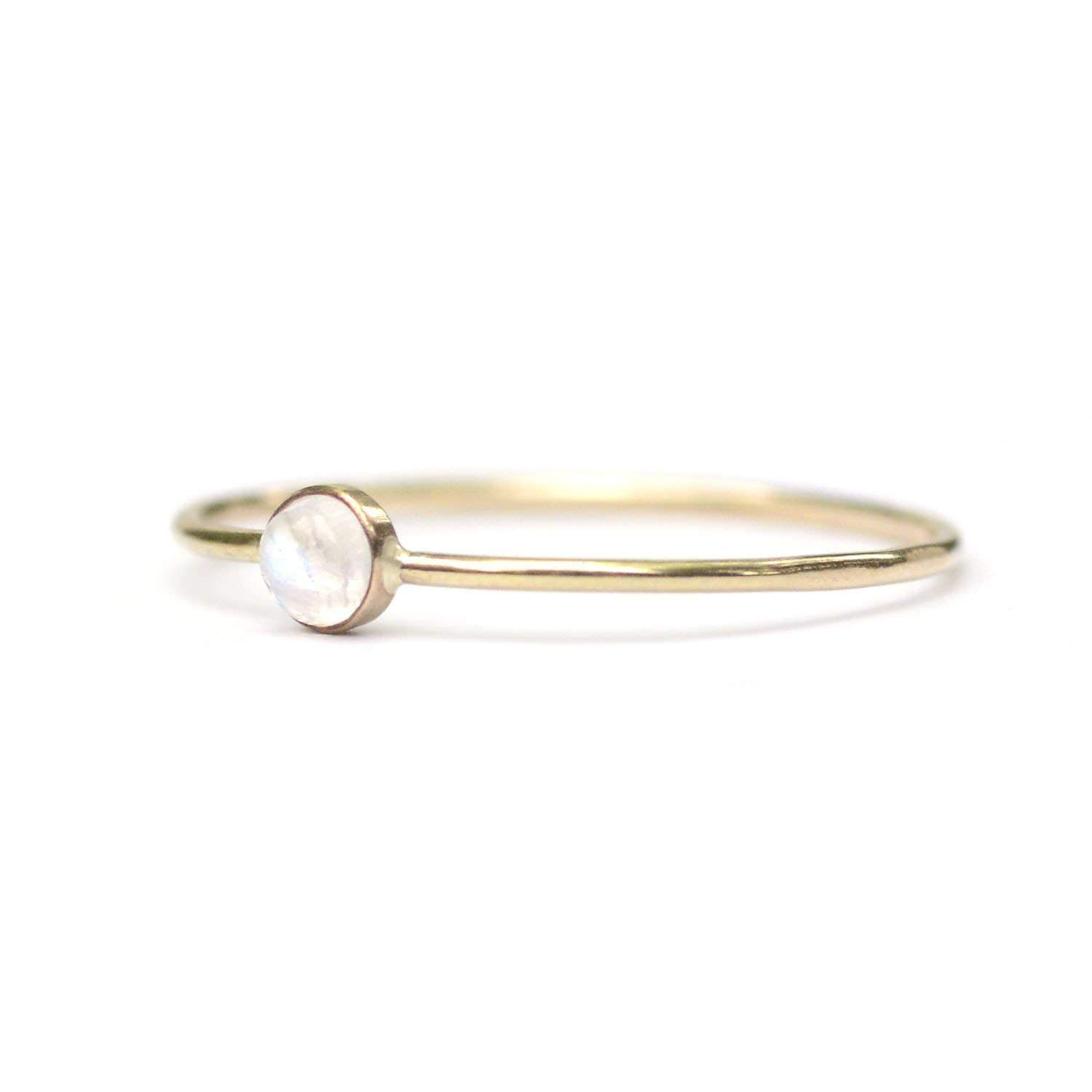 Moonstone Dot Ring - 14k Gold Fill - Favor Jewelry -Freehand Market
