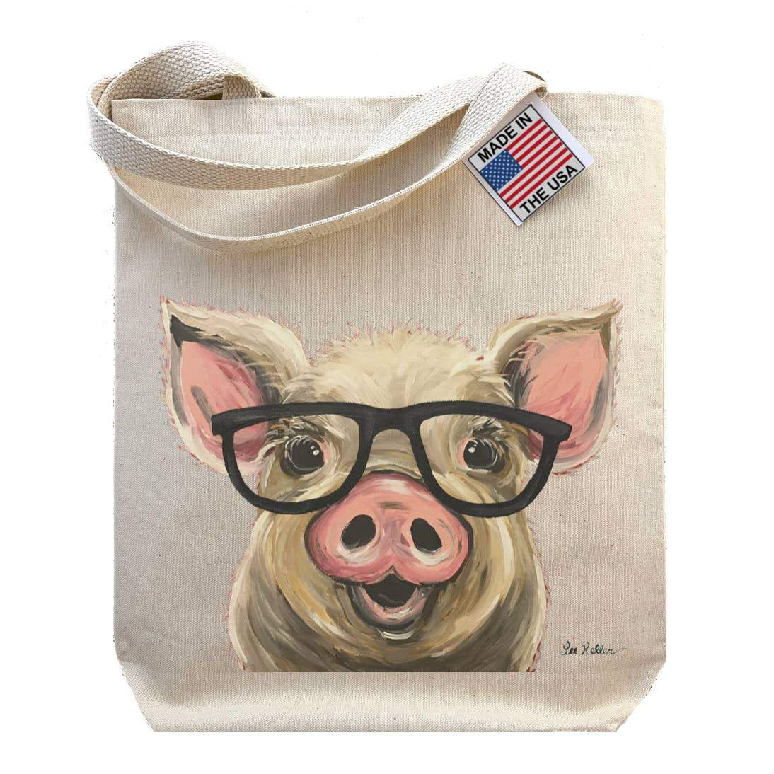 Pig with Glasses Tote Bag