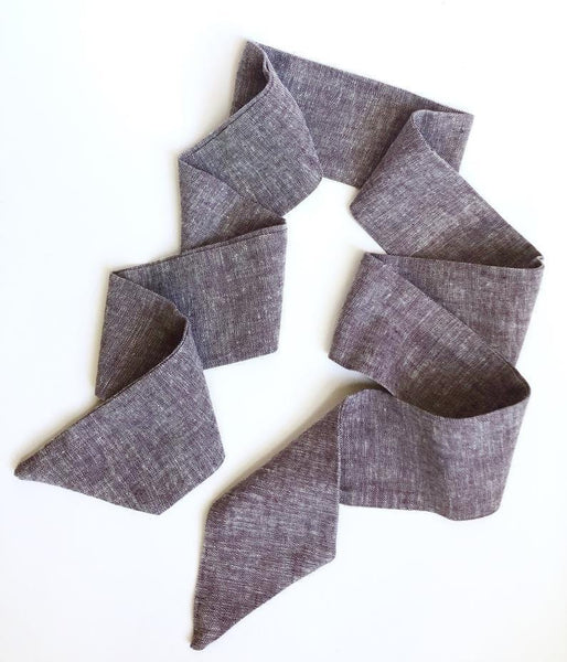 Aubergine Purple Linen Hair Scarf