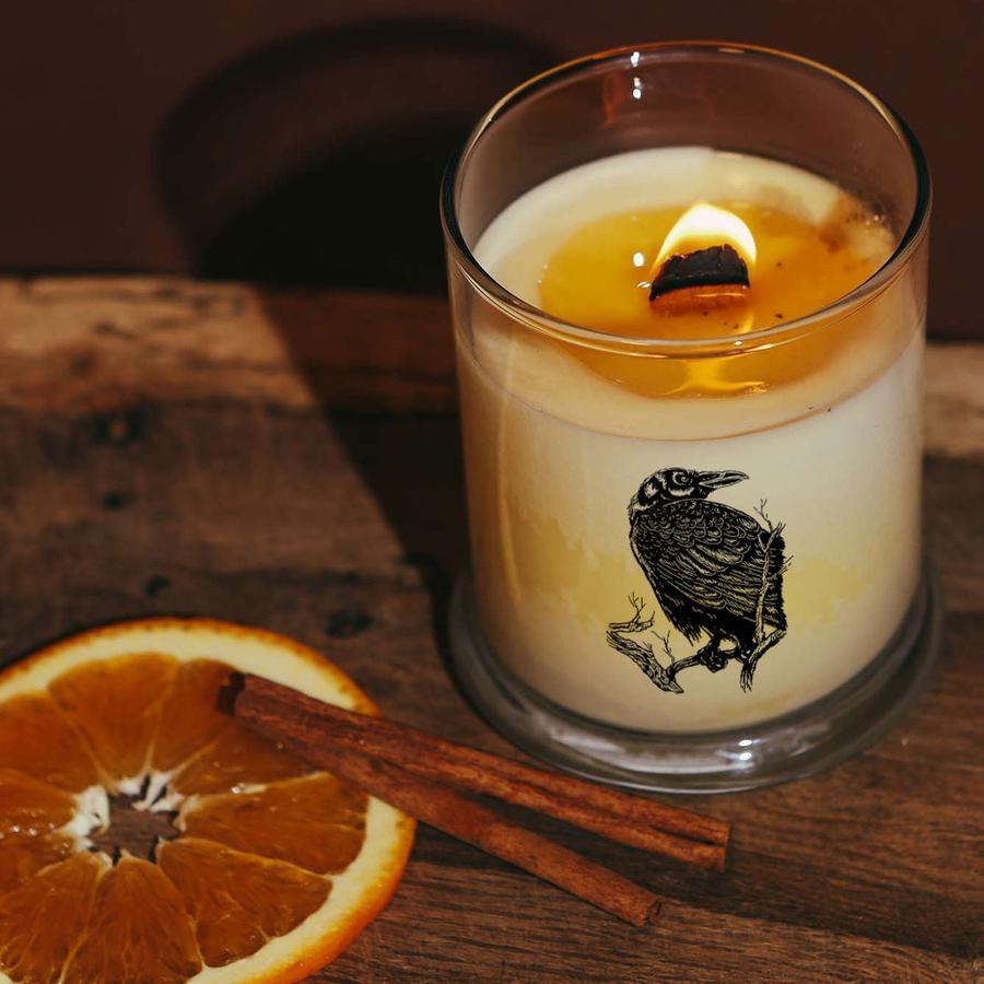 Quoth the Raven Orange & Clove Botanical Soy Candle with Wood Wick - Sea Witch Botanicals -Freehand Market