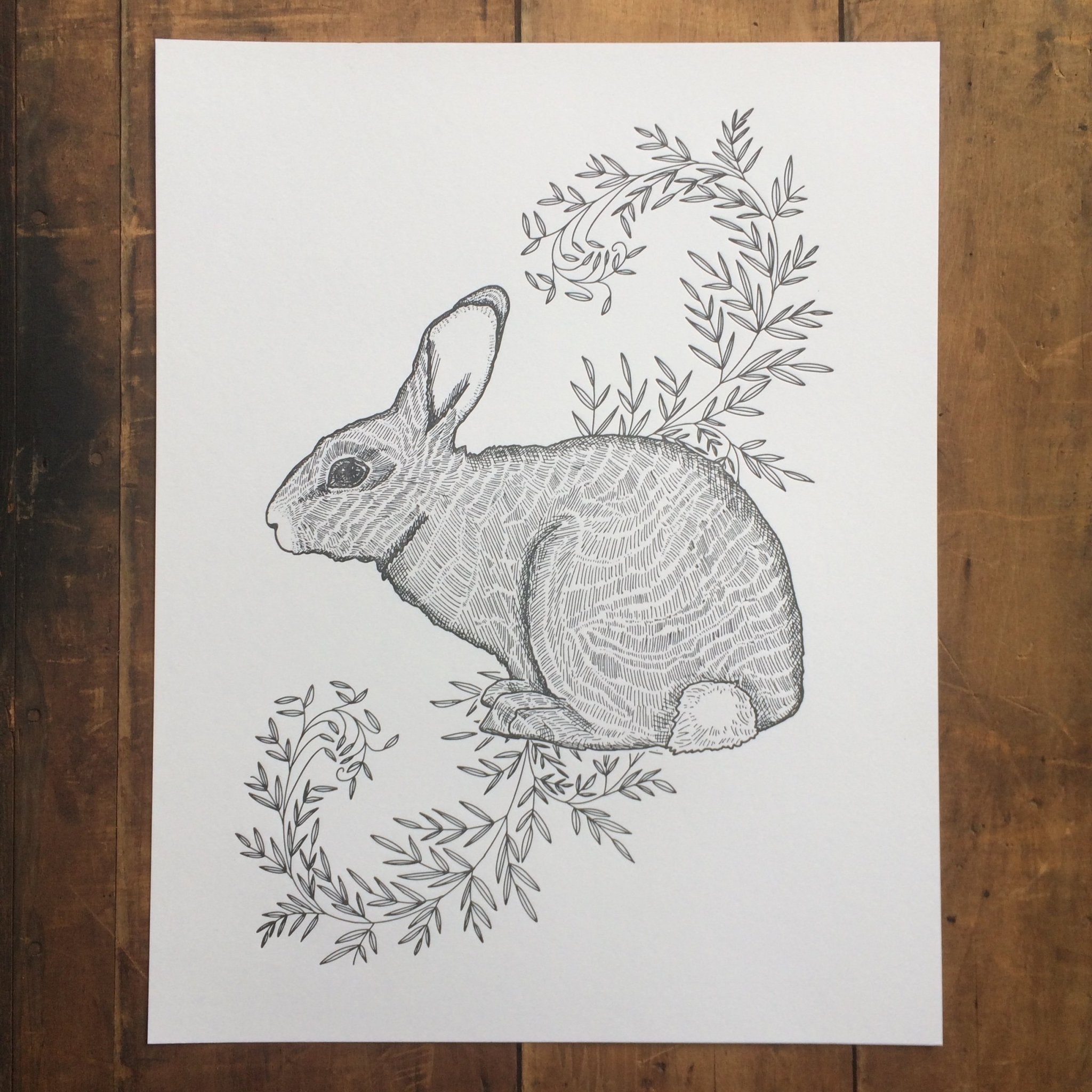 Rabbit with Vines Letterpress Print 11x14 - Ratbee Press -Freehand Market
