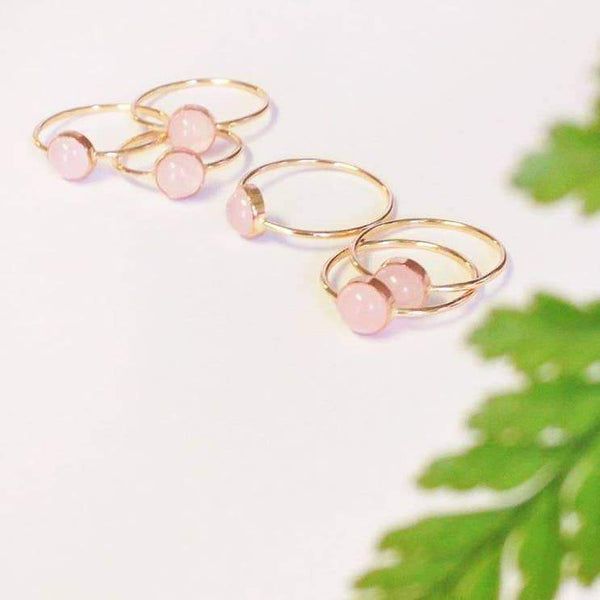 Rose Quartz Gumdrop Ring - 14k Gold Fill - Favor Jewelry -Freehand Market