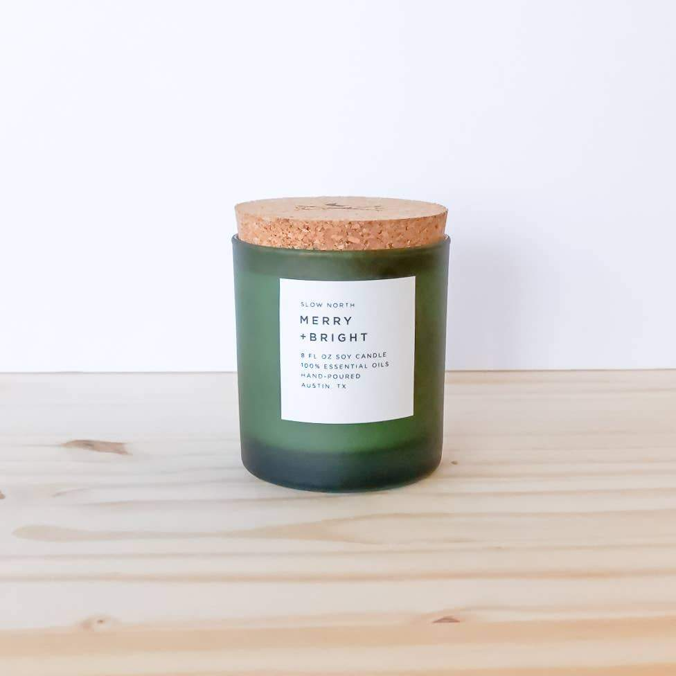 "Seasonal ""Merry + Bright"" Candle - Slow North -Freehand Market"