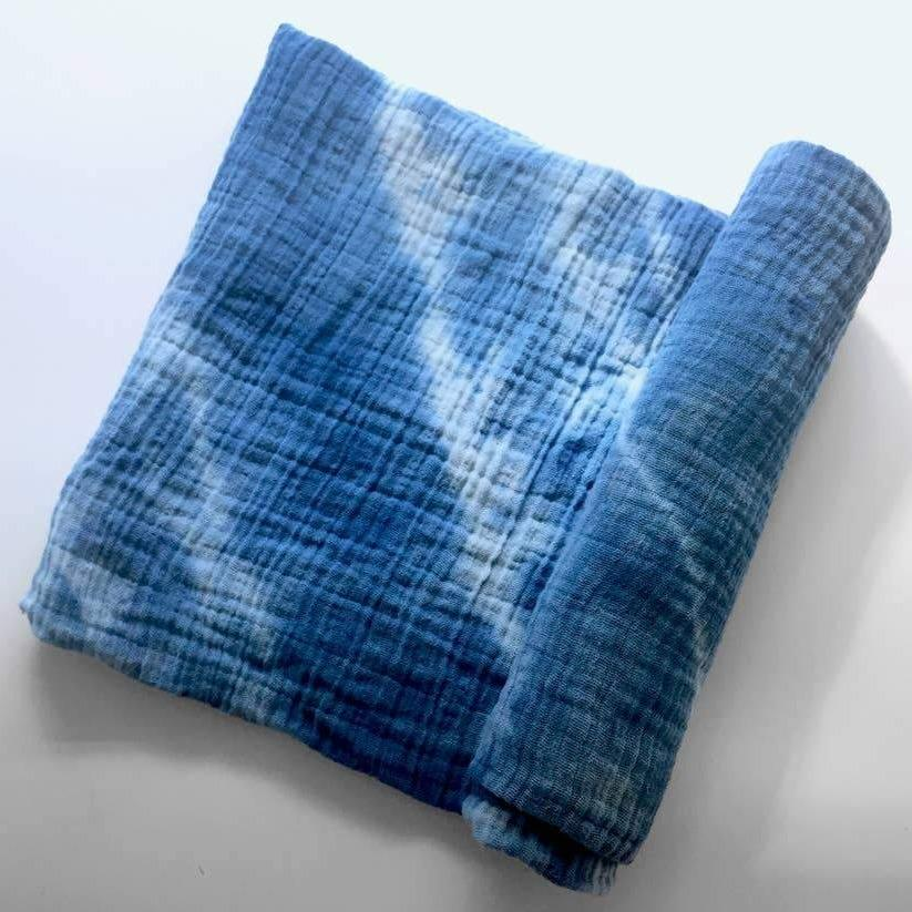 Hand-Dyed Indigo Muslin Cotton Swaddle Cloth