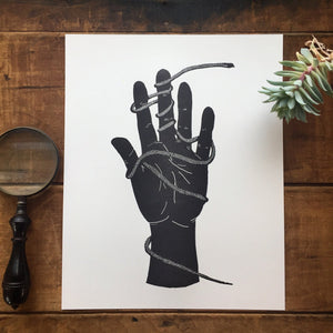 Snake Hand Letterpress Print 8x10 - Ratbee Press -Freehand Market