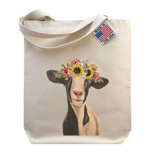 "Sunflower Crown Goat ""Luna"" Tote Bag - Hippie Hound Studios -Freehand Market"