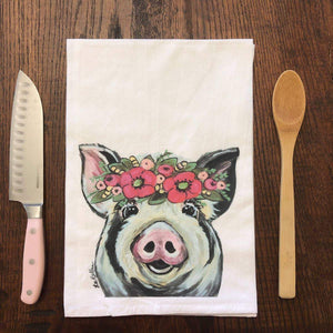 Pig Flower Crown (Pink) Flour Sack Tea Towel
