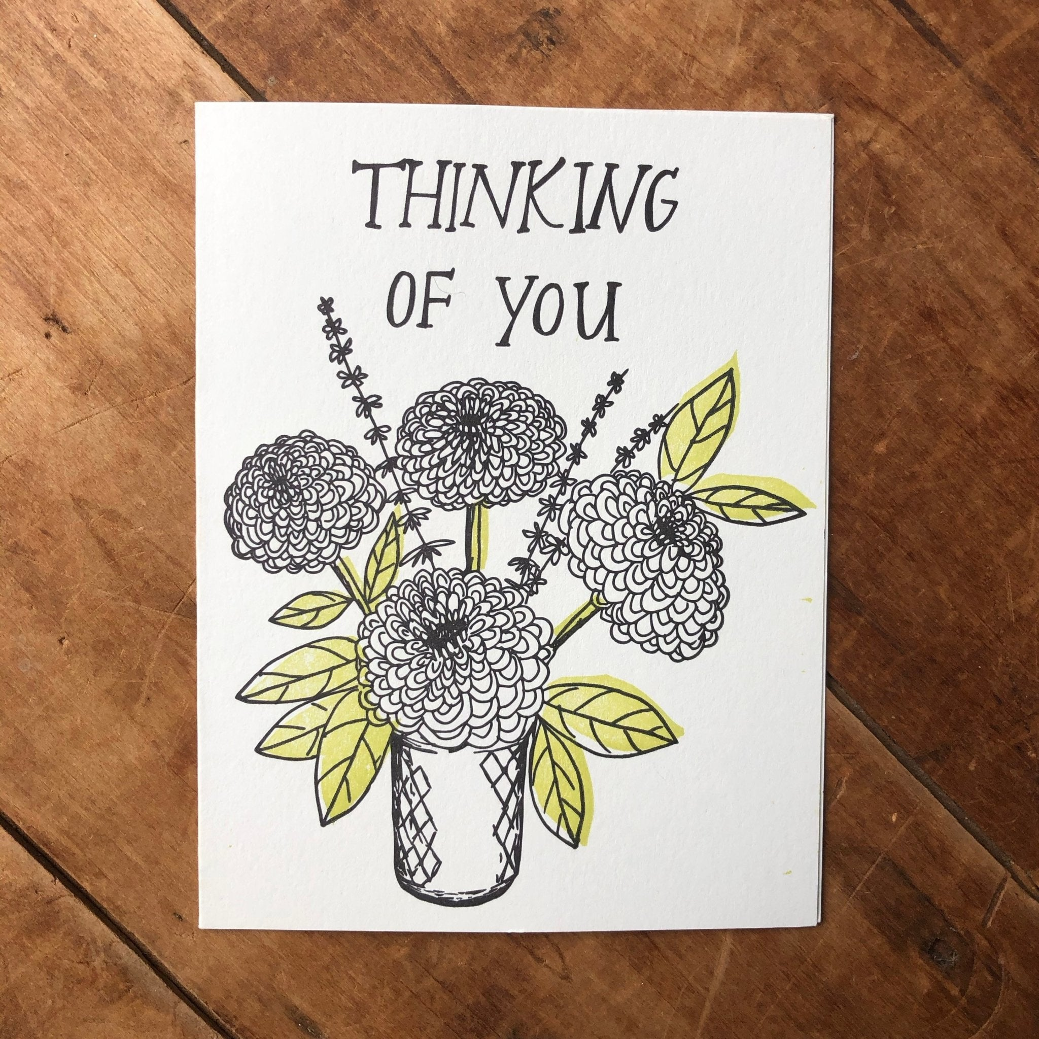 Thinking of You Bouquet Sympathy Card - Ratbee Press -Freehand Market