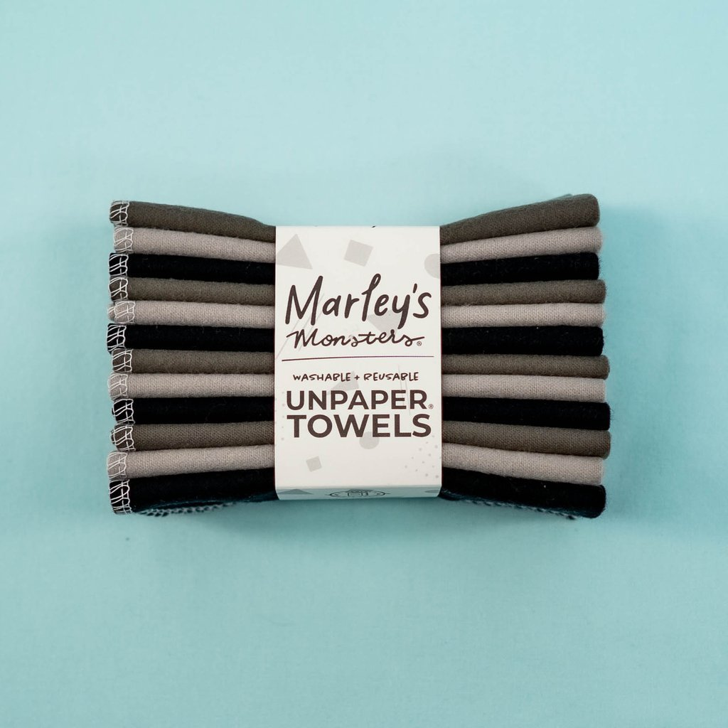 UNpaper Towels/Reusable Cloths 12 Pack - Shades of Grey - Marley's Monsters -Freehand Market