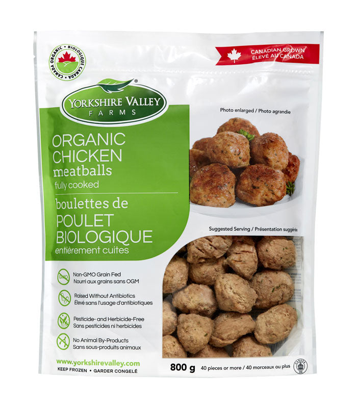 YORKSHIRE VALLEY, ORGANIC CHICKEN MEATBALLS, FROZEN