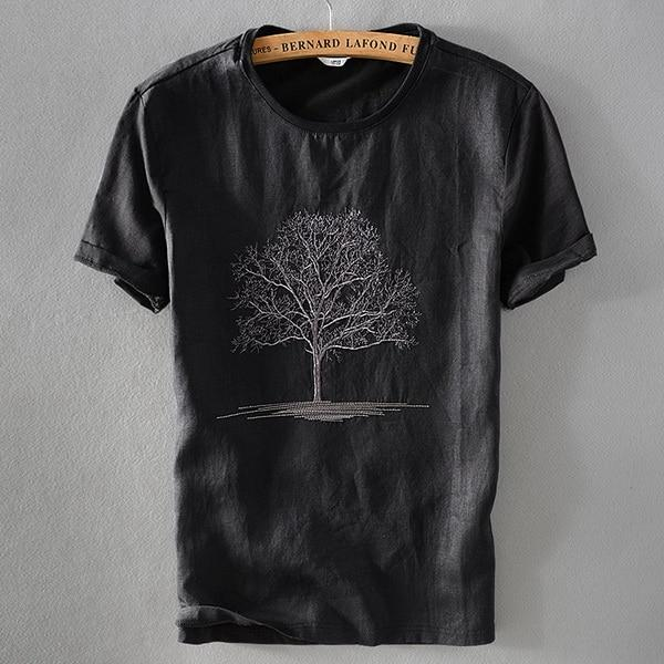 Linen Embroidery T-shirt (2 colors)