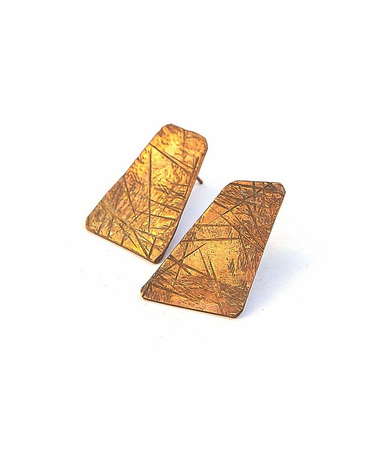 copper geometric earrings with hand stamped detailing