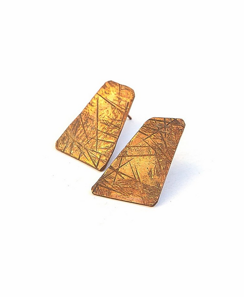 Geometric Copper Stud Earrings