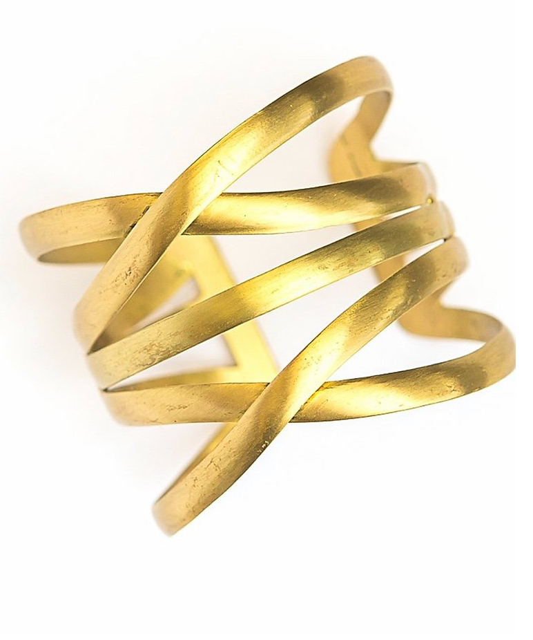 gold cuff design is 2 x shapes with a line in between the 2 x's horisontally