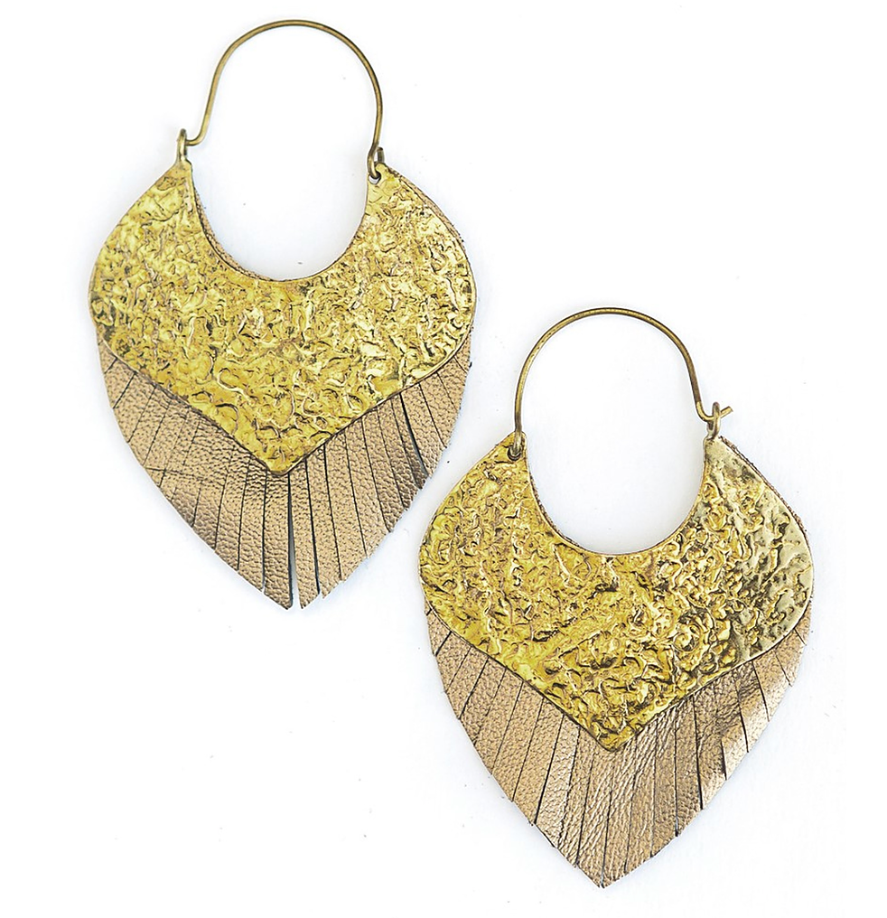 Hammered brass look geometric shape with metallic leather fringe sideways hoops