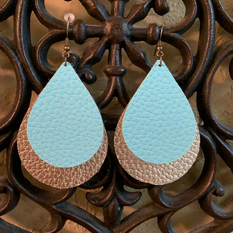 2 teardrop shapes layered smaller on top textured ice blue bottom bigger metallic like textured gold color