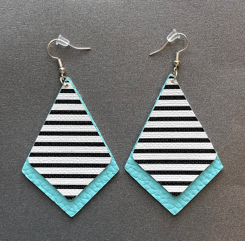Faux Leather  Dimond Shaped Earrings-Ice Blue and Stripes