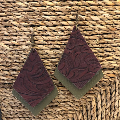 Faux Leather, Dimond Shaped Earrings-Olive Green and Tooled