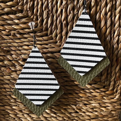 Faux Leather, Dimond Shaped Earrings-Olive Green and Stripes