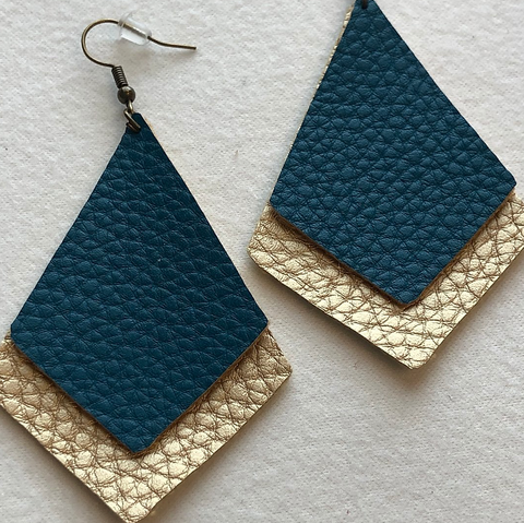 Faux Leather, Dimond Shaped Earrings-Peacock Teal and Gold
