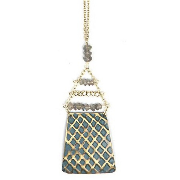 Blue geometric shape with gold Dimond pattern as well as a triangle chain shape with 3 rows on beads and 3 beads vertical on top