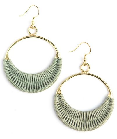 Gray Wrapped Ring Earrings