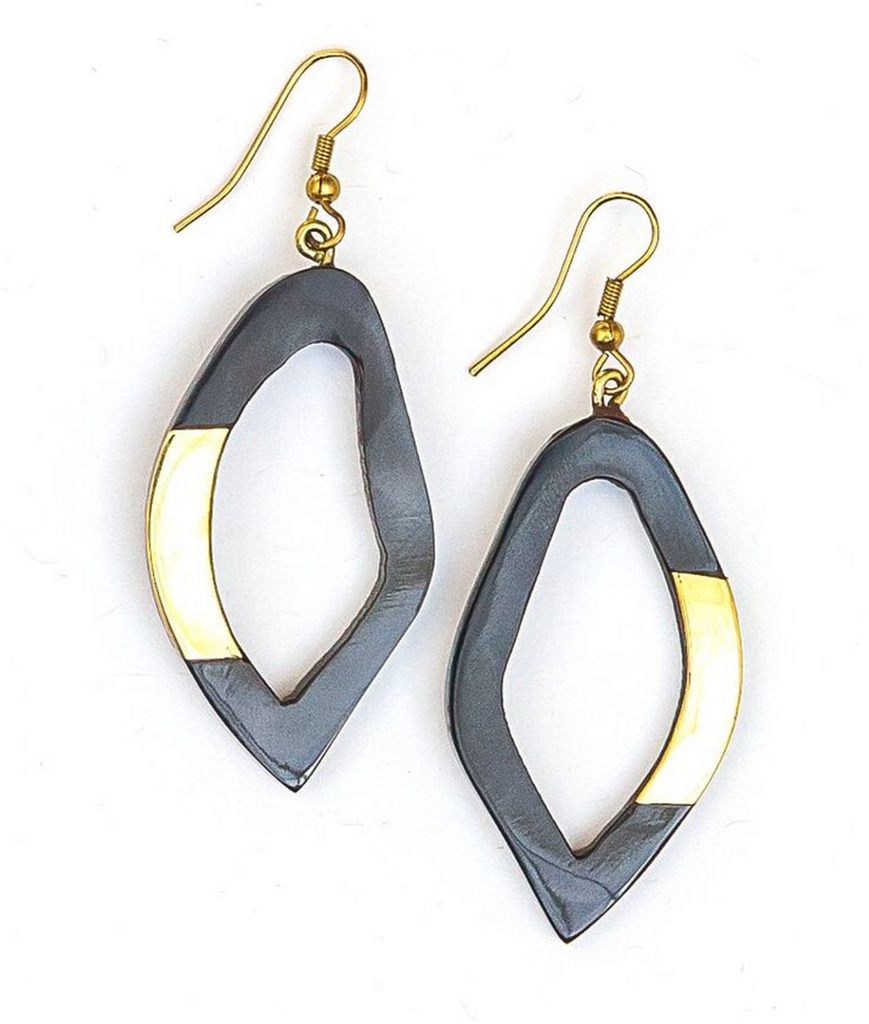 bone shape like earrings black and shiny with a gold detail on a piece of the edge of the earring