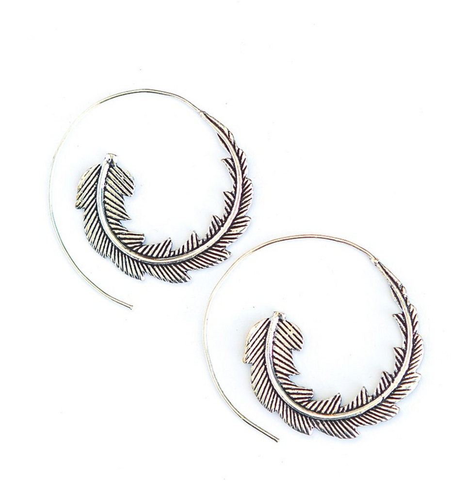 hoops around ear designed like a feather