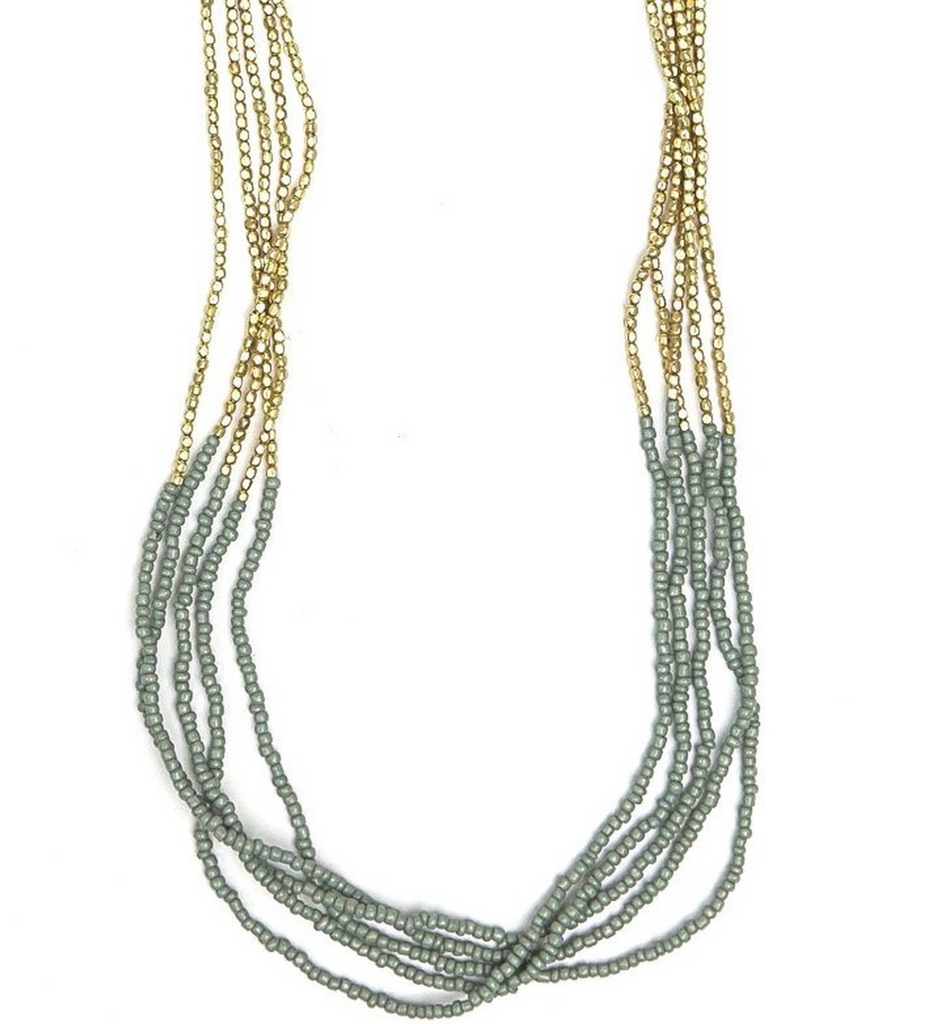 multi strand necklace bottom parts gray seed beads top part gold colored bead like beads, but different from the bottom shaped different