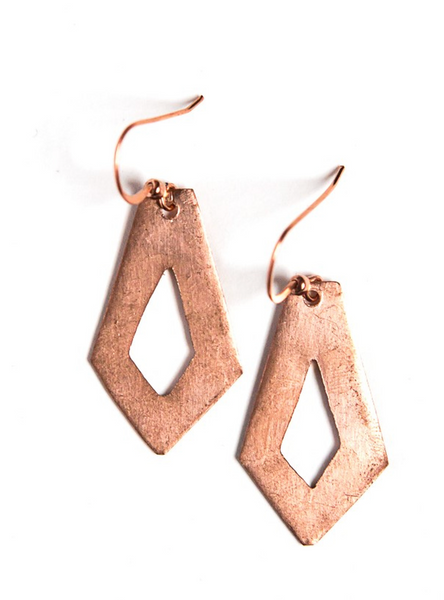 Recycled Bullet Earrings (Dimond shape)