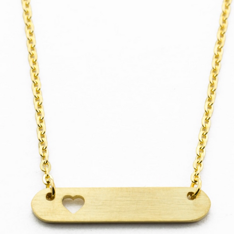 Minimal Bar Necklace With Heart Necklace